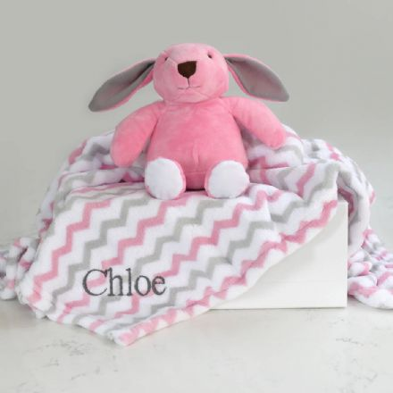 Personalised Baby Blanket And Pink Bunny Gift Set
